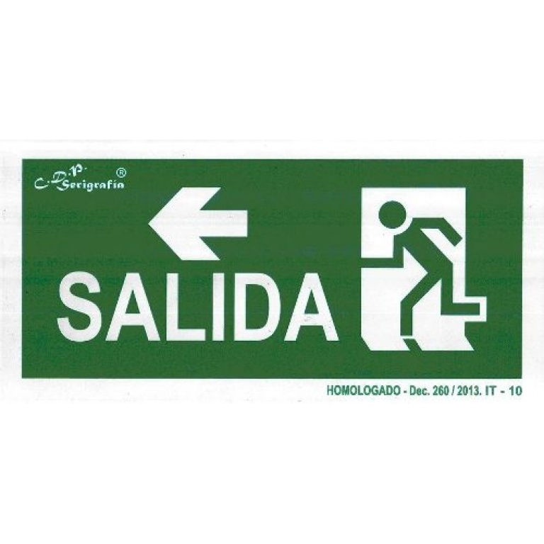 EXTINGUIDOR INCENDIO CARTEL SALIDA FLECHA IZQ 15X30