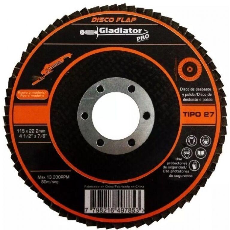 DISCO FLAP P/METAL IMPORTADO 4'1/2 -GRANO 36 GLADIADOR