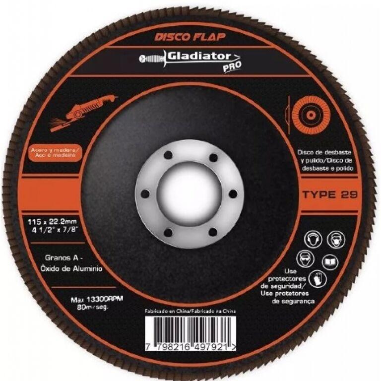DISCO FLAP P/METAL IMPORTADO 4'1/2 -GRANO 40 GLADIADOR