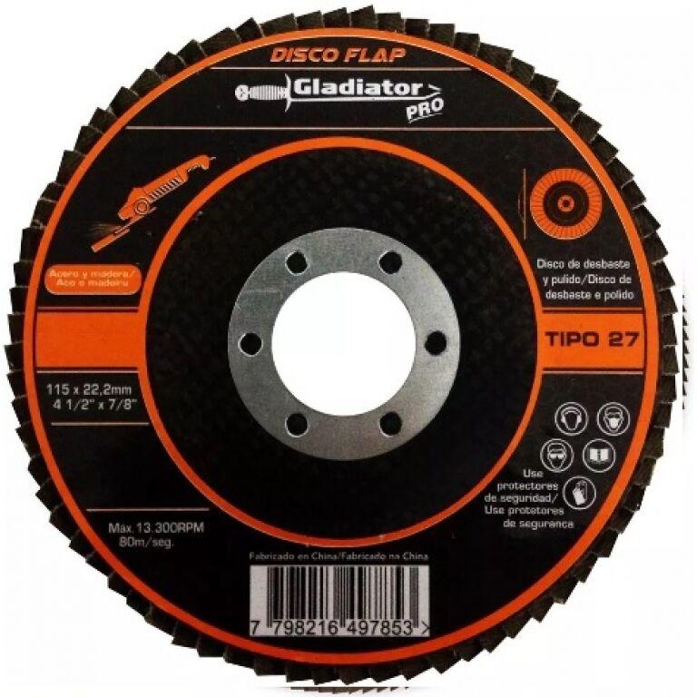 DISCO FLAP P/METAL IMPORTADO 4'1/2 -GRANO 100 GLADIADOR