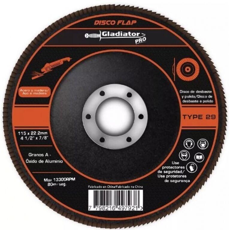 DISCO FLAP P/METAL IMPORTADO 4'1/2 -GRANO 60 GLADIADOR