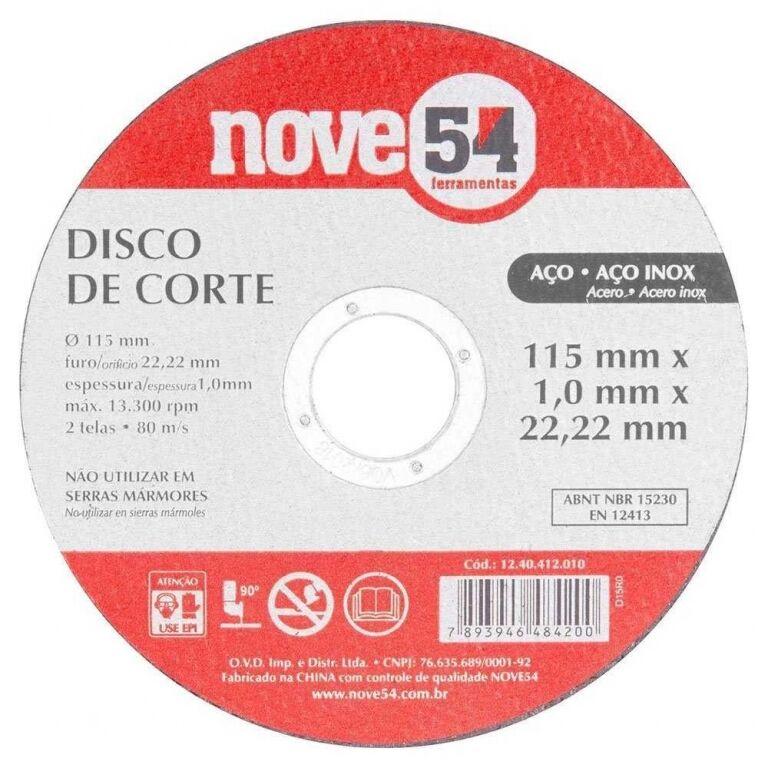 DISCO CORTE METAL ACERO INOX. 4 1/2 X 1 NOVE(25u)1240412010